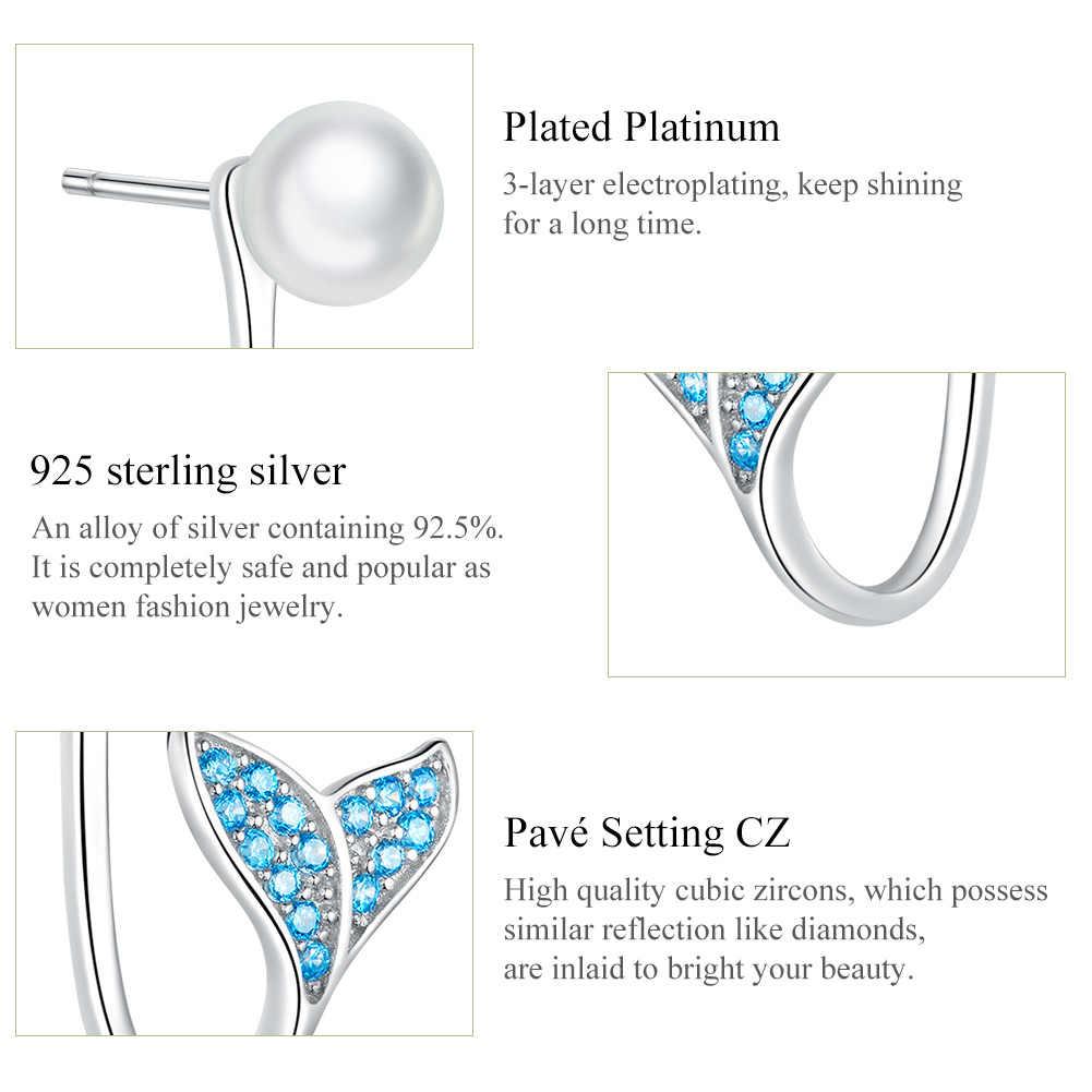 Brincos de cauda bisaer 925 prata esterlina casamento pérola oceano sereia cauda feminino brincos de prata jóias ece761