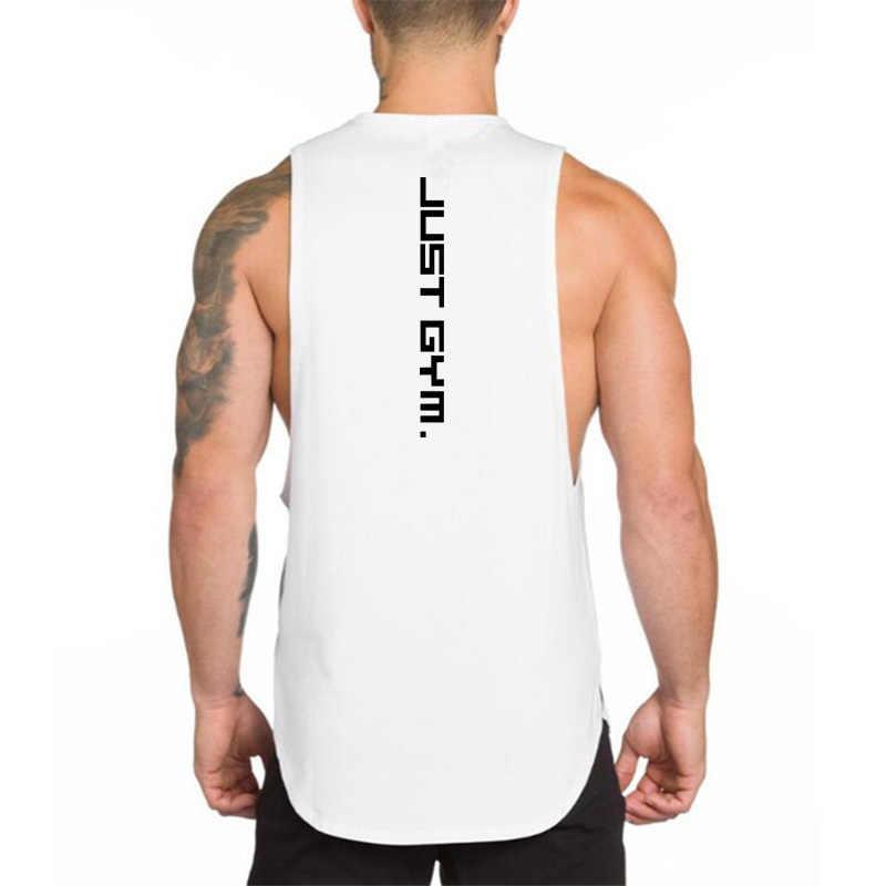 브랜드 코튼 러닝 조끼 남자 휘트니스 근육 민소매 티셔츠 여름 체육관 의류 스포츠 탱크 탑스 보디 빌딩 스트링거 조끼