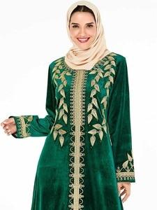 Image 5 - אלגנטי קטיפה שמלה מוסלמית נשים רקמת גדול נדנדה אונליין מקסי שמלת קימונו Jubah גלימת הדפסת העבאיה שמלות בגדים אסלאמיים