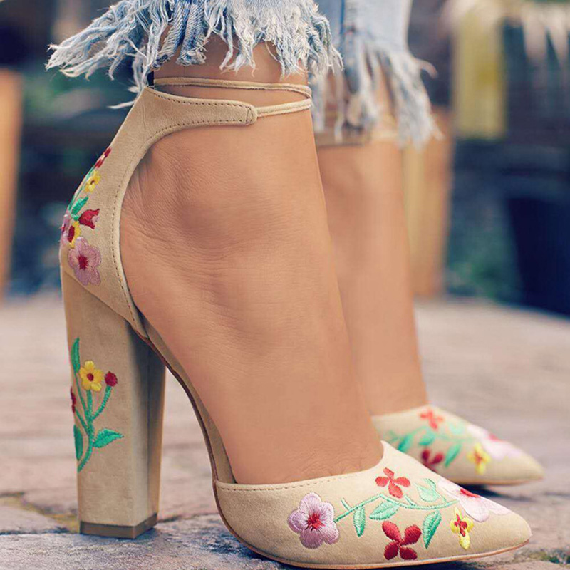Women Two Piece High Heels Women's Embroidery Pumps 2020 Women Ankle Strap Flocks Sexy Pointed Toe Party Wedding Shoes Plus Size