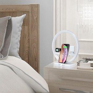 Image 2 - 3 ב 1 צ י מהיר אלחוטי מטען Dock עבור iPhone 11 פרו מקסימום עבור אפל שעון iWatch 1 2 3 4 5 Airpods מטען מחזיק LED מנורת 2019