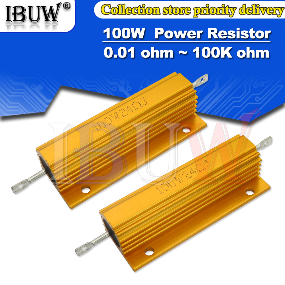 100W 0.01 ~ 100K Aluminum Power Metal Shell Case Wirewound Resistor 0.1 0.5 1 1.5 2 6 8 10 20 100 150 200 300 1K 10K ohm RX24