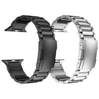 Correa de titanio + Metal de acero inoxidable para Apple Watch, Series de Lujo 5, 6 SE, pulsera de eslabones para iWatch 44mm, 42mm, 40