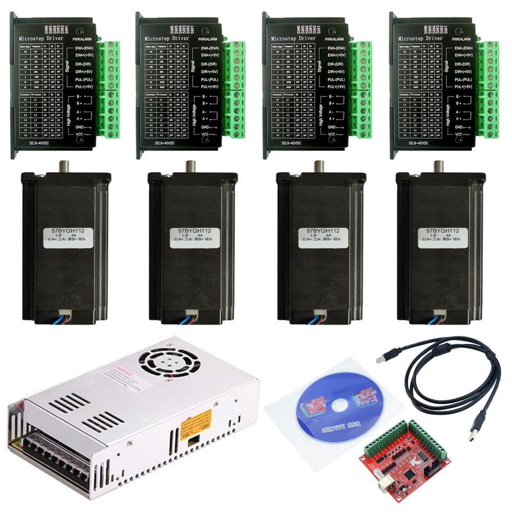 CNC Router 3 4 zestaw osiowy 3A 3N.M Nema 23 425 oz-w silniku krokowym 57HS112 TB6600 sterownik + 350W zasilacz karta kontrolera MACH3