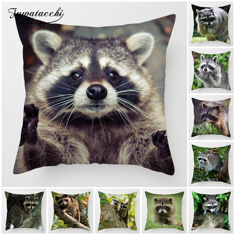 Fuwatacchi Cute Raccoon Cushion Cover 45x45cm Wild Bird Printing Pillowcase For Home Sofa Bed Chair Decorative Pillows Covers