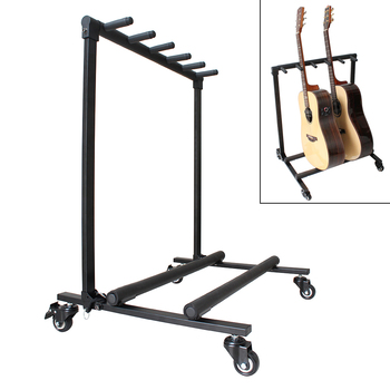 Removable Aluminum Alloy Floor Guitar Stand with Roller for Display 5pcs Acoustic Electric Guitar Basses aluminum alloy floor guitar stand with stable tripod holder for acoustic electric guitar bass guitar stand