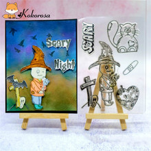 Kokorosa Halloween Clear Stamps Rubber Stamp Witch Ghost Letter Card Making Scrapbooking Album Decor Transparent
