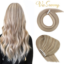 VeSunny Tape Hair Extensions Human Hair Tape in Blonde Hair Extensions Silky Straight Hair Color Highlighted Tape ins for Women