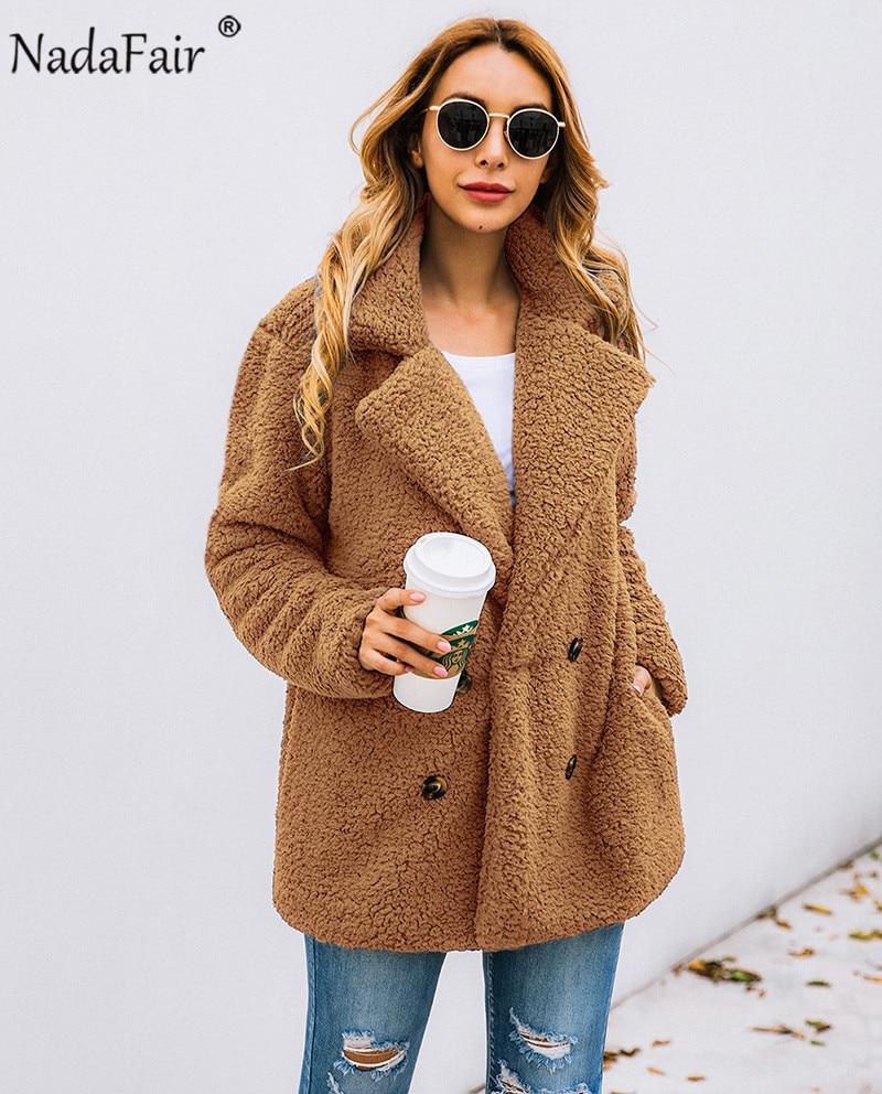 Nadafair plus size fleece faux fur jacket coat women winter pockets thicken teddy coat female plush overcoat casual outerwear 6