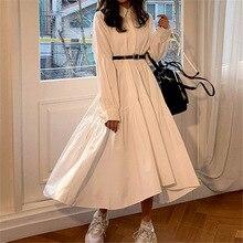 Vestido de mujer manga larga primavera otoño Vintage diseñador cuello solapa abotonada fruncido volantes algodón blanco vestido ropa femenina