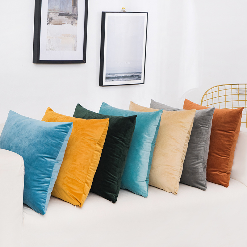 <font><b>50*50cm</b></font> Warm Velvet <font><b>Pillow</b></font> <font><b>Case</b></font> Sofa Cushion <font><b>Pillow</b></font> Cover Home Decorative Sofa Throw Pillowcase Cushion Cover Solid Color image