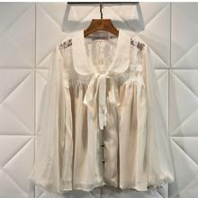 Projektant luksusowe koszule dla kobiet w stylu Vintage latarnia rękawem Peter Pan kołnierz koronki szyfonowa bluzka bluzki tanie tanio fantfur COTTON REGULAR Kobiety Stałe Pełna Peter pan collar Na co dzień