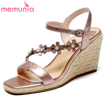 MEMUNIA 2020 top quality genuine leather sandals women flower buckle summer casual shoes comfortable wedges sandals woman