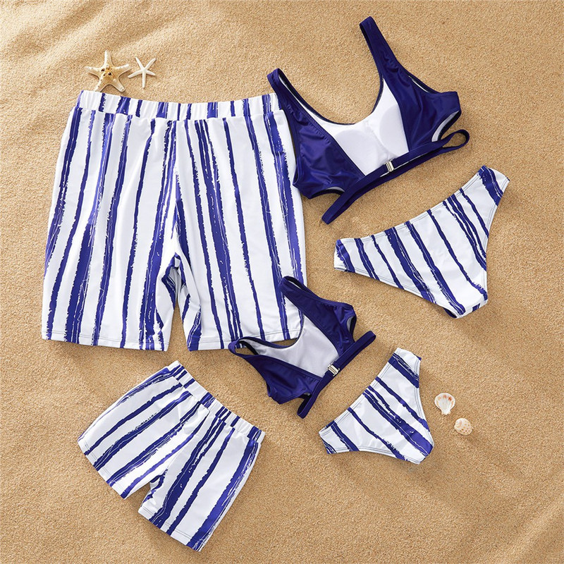 Beach Family Matching Outfits Look Striped Swimwear Mother Daughter Swimsuits Mommy And Me Dresses Clothes Dad Son Swim Shorts