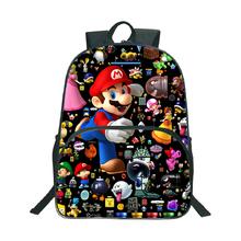 Wysokiej jakości Super Mario plecak szkolny moda popularny wzór plecak na laptopa dla dzieci chłopcy dziewczęta torba szkolna tanie tanio JUNBIE NYLON Miękki uchwyt Tłoczenie Łukowaty pasek na ramię 16 inch backpack Poliester Unisex Miękka printing Na co dzień