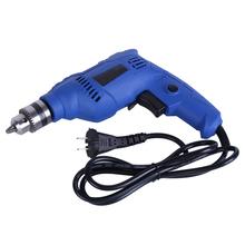 Profesjonalne 10MM niebieskie wiertarskie narzędzia elektryczne wiertarka pistoletowa udarowa wielofunkcyjna strona główna DIY wiertarka do obróbki drewna elektryczna obróbka metali tanie tanio LUCHSHIY Wiertarka udarowa CN (pochodzenie) Komercyjne Producenci 50HZ Drilling Wood Wall Steel Screw HW219 Electric Drill