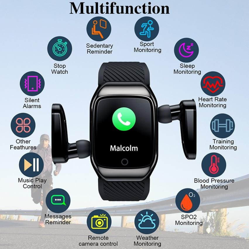S300 Bluetooth Call Smart Bracelet TWS Smart Earphone 2-in-1 Pedometer Heart Rate Blood Pressure Call Reminder Smart Band Watch (9)