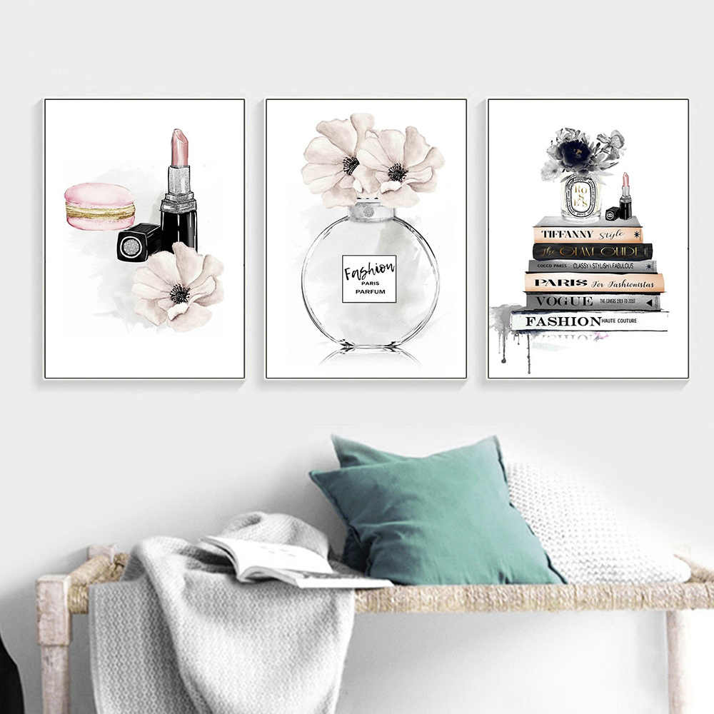 Boek Parfum Posters En Prints Mode Lippenstift Makeup Canvas Poster Parijs Merk Vogue Print Schilderij Muur Foto Home Decor