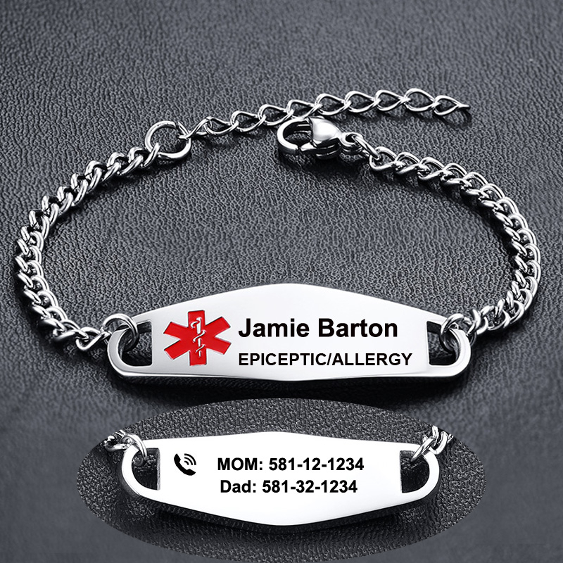 CLASSIC SMALL STAINLESS STEEL BABY CHILDREN MEDICAL BRACELET ID SILVER AUTISM EPILEPSY ALLERGY FREE ENGRAVING KIDS BRACELET