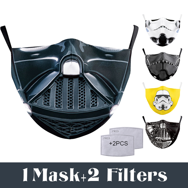 Fashion Reusable Face Mask Printed Fabric Washable Mouth Mask Filter PM2.5 Dust Proof Anti-fog Safety Breathing Protective Masks