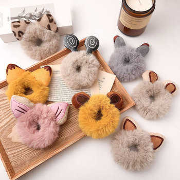 Furry Bear Ears Pontail Holder Cat Ears Faux Fur Hair Rope Elastic Hair Band Plush Scrunchies Candy Color Hair Accessories image