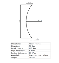 Плано выпуклая линза Диаметр 764 мм фокусное расстояние 1275