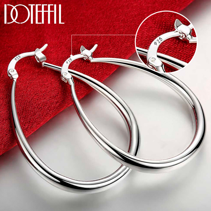 DOTEFFIL 925 ayar gümüş pürüzsüz daire 41mm Hoop küpe kadınlar için Lady hediye moda Charm yüksek kalite düğün takısı