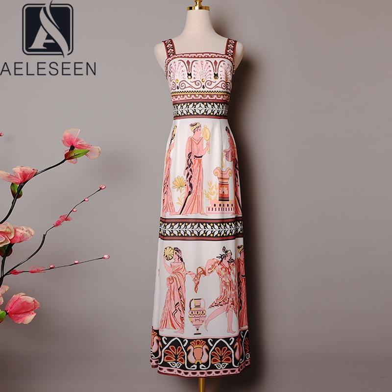 AELESEEN Runway Fashion Slim Dress 2020 Spring Summer Women's Spaghetti Stap Diamonds Floral Print Elegant Party Long Drsess