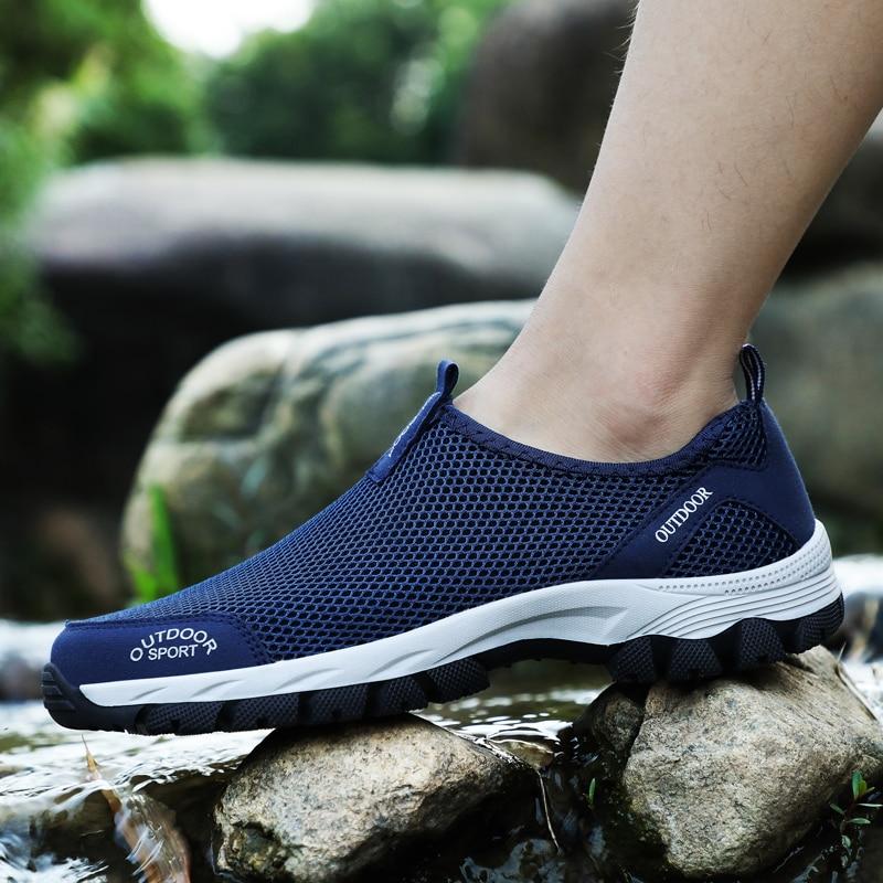 Mesh Men Shoes Hollow Light Plus Size for Male Shoes Slip On Mesh Shoes Gray 8