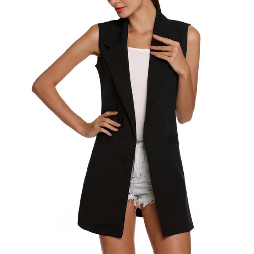 H7d6a00cea9e44614bca7530058655ed3J Summer V-Neck Vest Pocket Women Thin Loose Waistcoat Single Breasted Sleeveless Blazer Feminino Short Slim Vest Femme Tide XXL