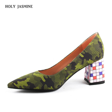 2020 Spring New Hot Sale Pumps Fashion Colorful Square Heel High Quality Pointed Toe Shoes Elegant Womens