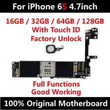 Placa base desbloqueada para iPhone 6S, 4,7 pulgadas, con ID táctil, IOS, actualización, compatible con placa lógica, 16GB, 32GB, 64GB, 128GB