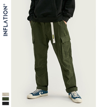 INFLATION Men Cargo Pants Drawstring Trousers Fashion Fitted