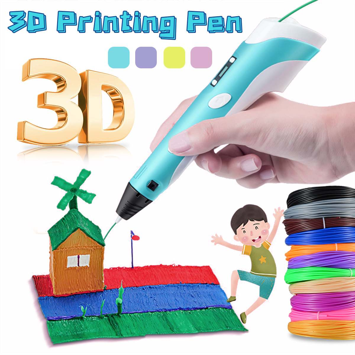 LCD Screen 3D Drawing Printing Pen Compatible PLA Filament Toys Safe 3D Pen for Children Kids Christmas Birthday Gift
