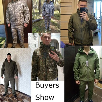 Hunting Jacket Airsoft Army Waterproof Tactical Jackets Men Soft Shell Camo Hunting Clothes Suit Shark Skin Military Coats+Pants 5