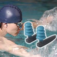 Silicone macio natação tampões de ouvido confortável à prova dwaterproof água com cancelamento de ruído reutilizável proteção auditiva fones armazenamento caso