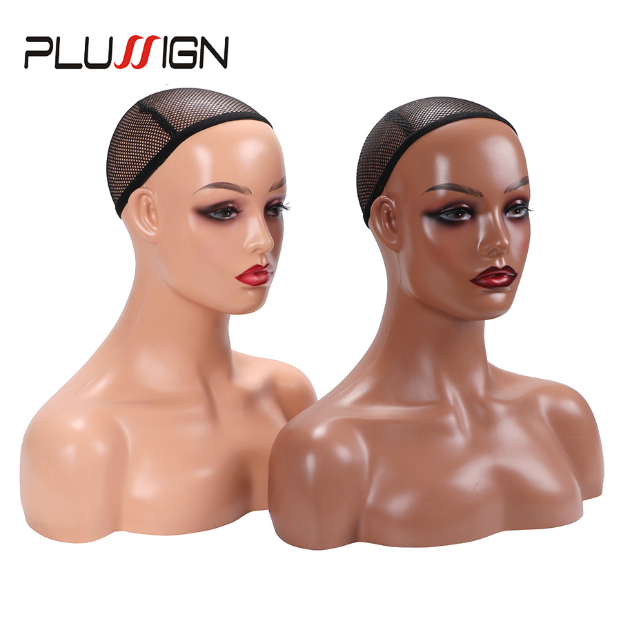 Top 20.5 Inch Head For Wigs Display Female Model Beige Black Color Manikin Wig Head Stand Brown Maniquin Head With Shoulders