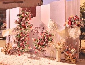 Image 5 - Пользовательские свадебные арки Декор цветочный композиция стол цветочный шар центральные Цветочные Вечерние сцены на открытом воздухе компоновка цветка стены
