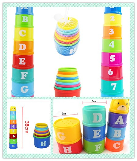 8PCS Educational Baby Toys 6Month Early Cup Children Figures For Children Intelligence Toy Tower Letters Stack Alphabet
