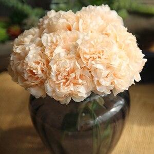 Image 3 - Simulación de peonía flores artificiales decoración para fiesta de boda ramo para el hogar pegatina de flores artificiales Decoración