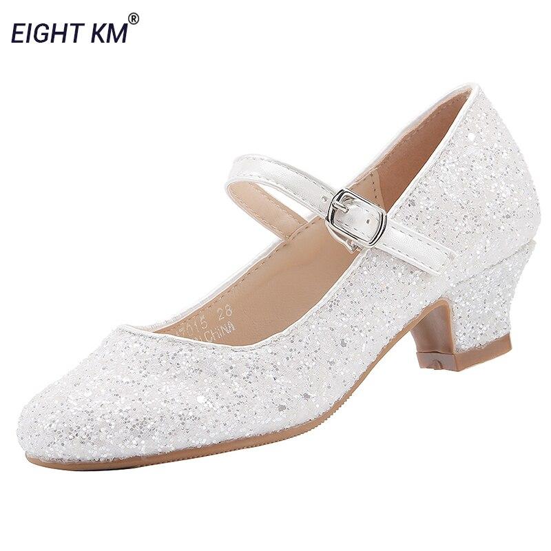 שמונה KM מרי ג 'יין נמוך עקב נעלי ילדים עבור בנות שמלת צד פורמלי נסיכת הילדה אופנה מתכוונן שלג לבן ריקוד