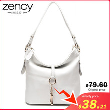 Zency New Fashion Women Shoulder Bag Metal Tassel 100% Genuine Leather Lady Crossbody Messenger Elegant Gift Handbag Black White