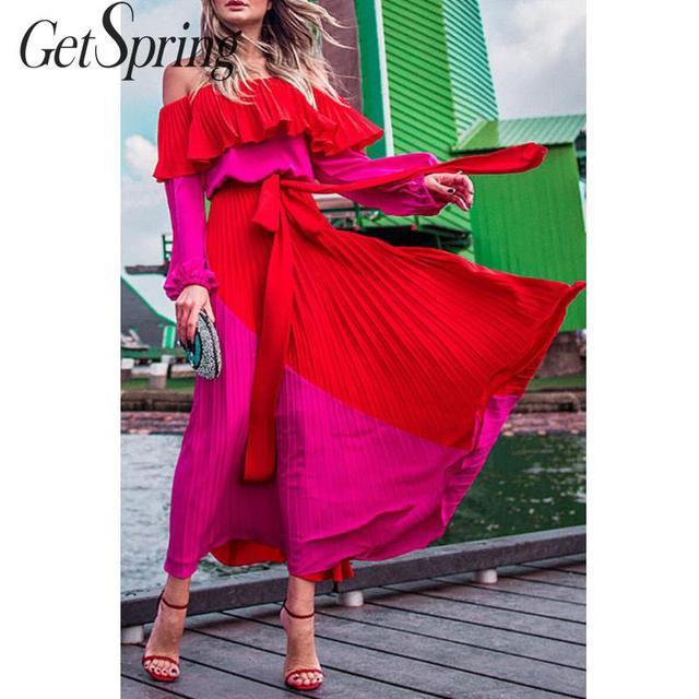 $ US $18.90 GetSpring Women Dress Slash Off Shoulder Dresses Evening Party Dress Plus Size Summer Dresses Bandage Pleated Long Red Dress