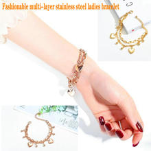 Women's stainless steel bracelet     Concentric lock bracelet      Crown Moon Bracelet      Love bead bracelet crystal bead and crown bracelet safety chain luxury strand bracelet