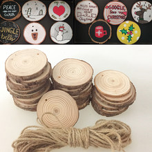 50 pçs madeira natural fatias círculo redondo discos árvore casca log para diy artesanato decorações de casamento enfeites natal