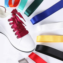 1Pair 80cm *2CM Satin Silk Ribbon Women Boots Sneakers Shoelaces Bow Fashion Women Shoelaces(China)