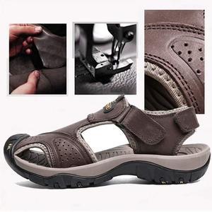 Image 4 - CUNGEL nouveau mâle chaussures en cuir véritable hommes sandales été hommes chaussures plage sandales homme mode en plein air espadrilles décontractées taille 48