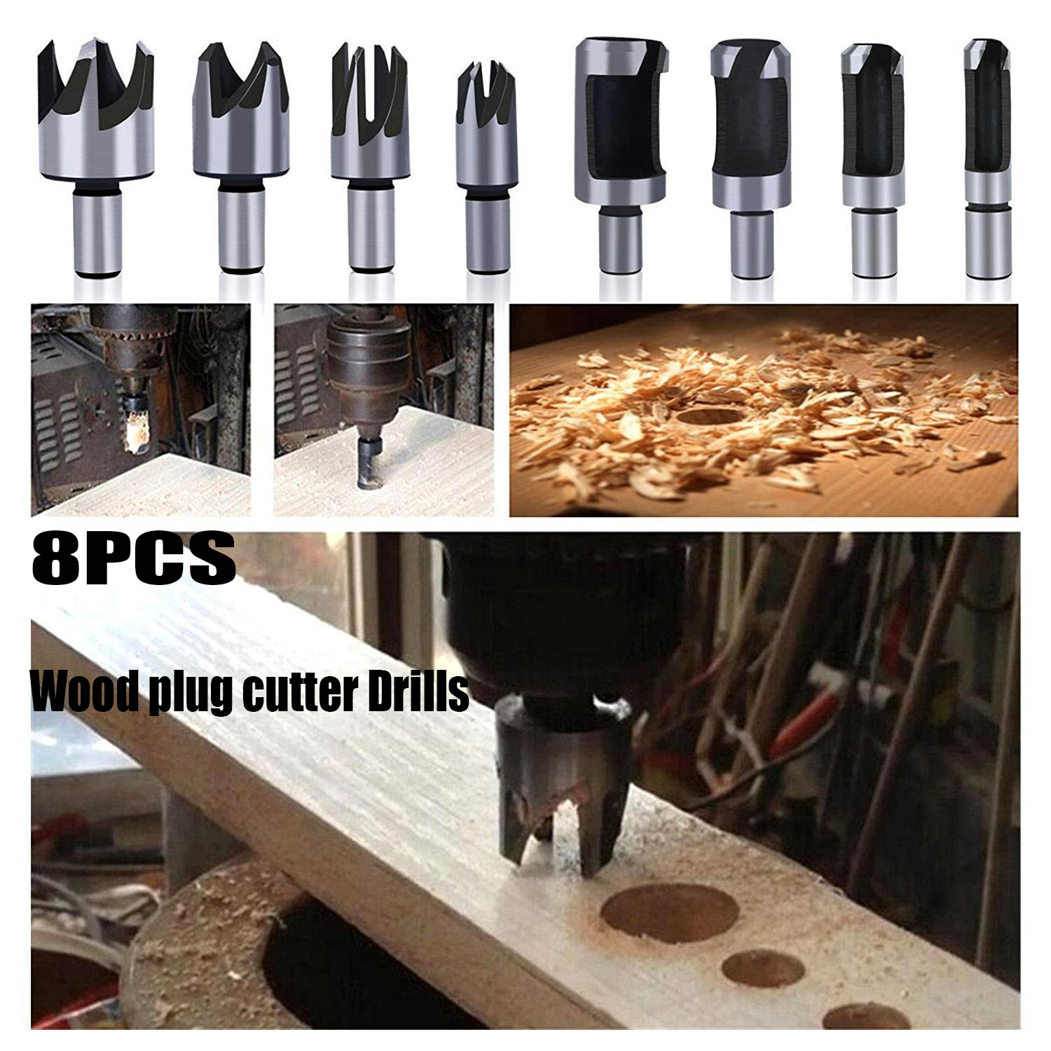 8pcs Wood Plug Cutter Drill Bit Set Straight And Tapered Taper 5/8