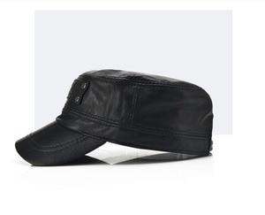 Image 2 - [AETRENDS] Black sheepskin genuine leather baseball cap men branded flat caps dad hat outdoor leather hats gorras planas Z 5296