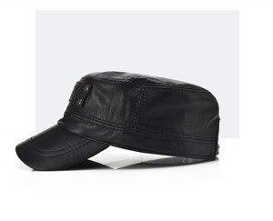 Image 2 - [Aetrends] 黒の羊革野球キャップ男性ブランドフラットキャップお父さん帽子屋外革帽子gorras planas z 5296